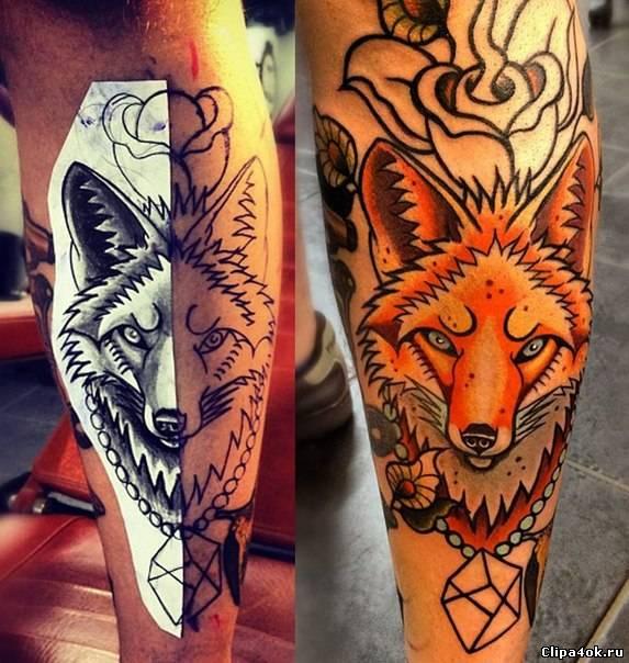 Татуировка лисы на ноге эскизы